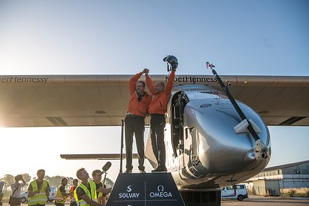 The SI2, Bertrand Piccard & André Borschberg in Seville, Spain