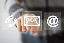 Hand pressing contact by email button