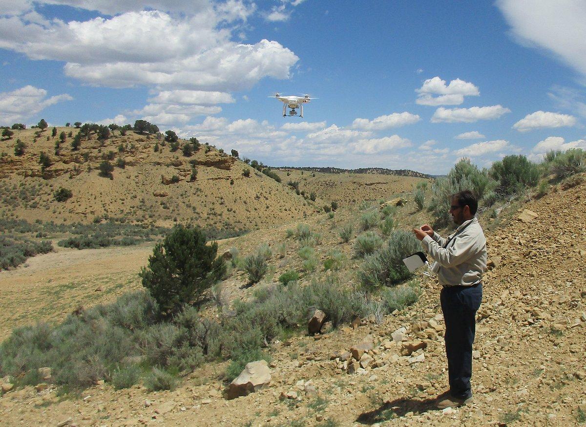 Mark Brassette piloting a drone