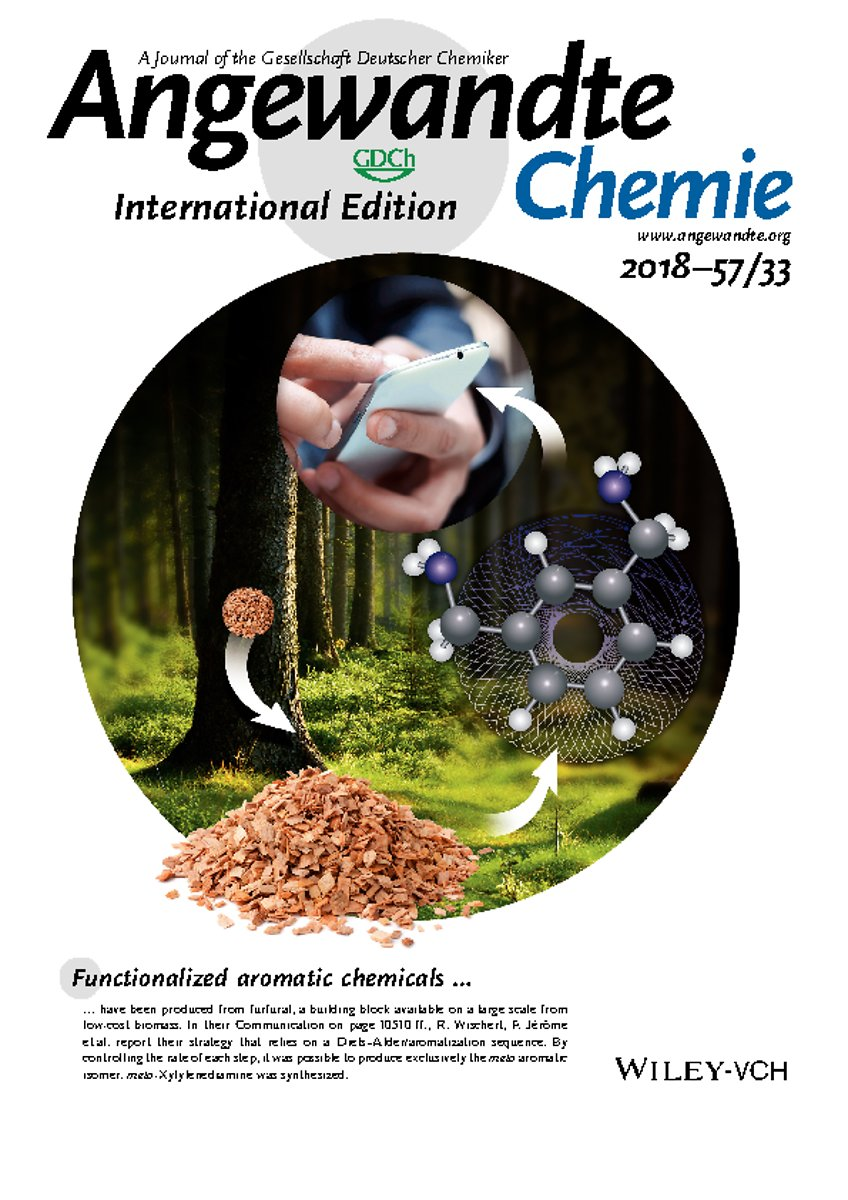 Inside Cover: Synthesis of Renewable metaXylylenediamine from BiomassDerived Furfural (Angew. Chem. Int. Ed. 33/2018)