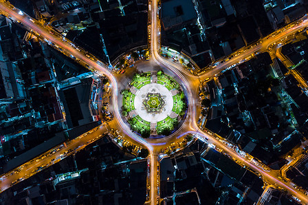 Visual Climate target - aerial of roundabout at night
