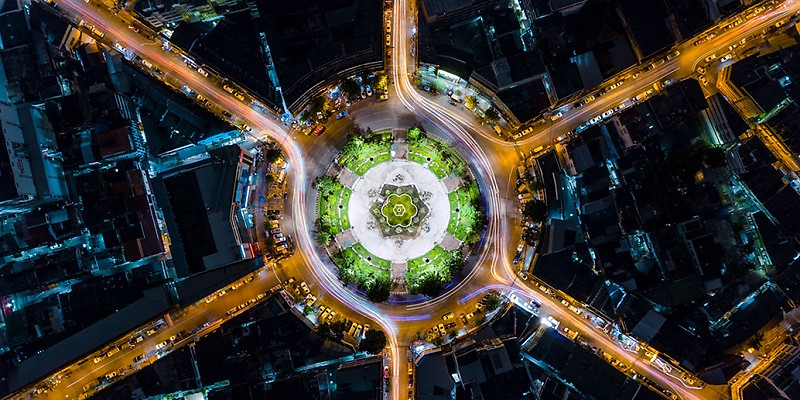 Visual Climate target - aerial of roundabout at night HP