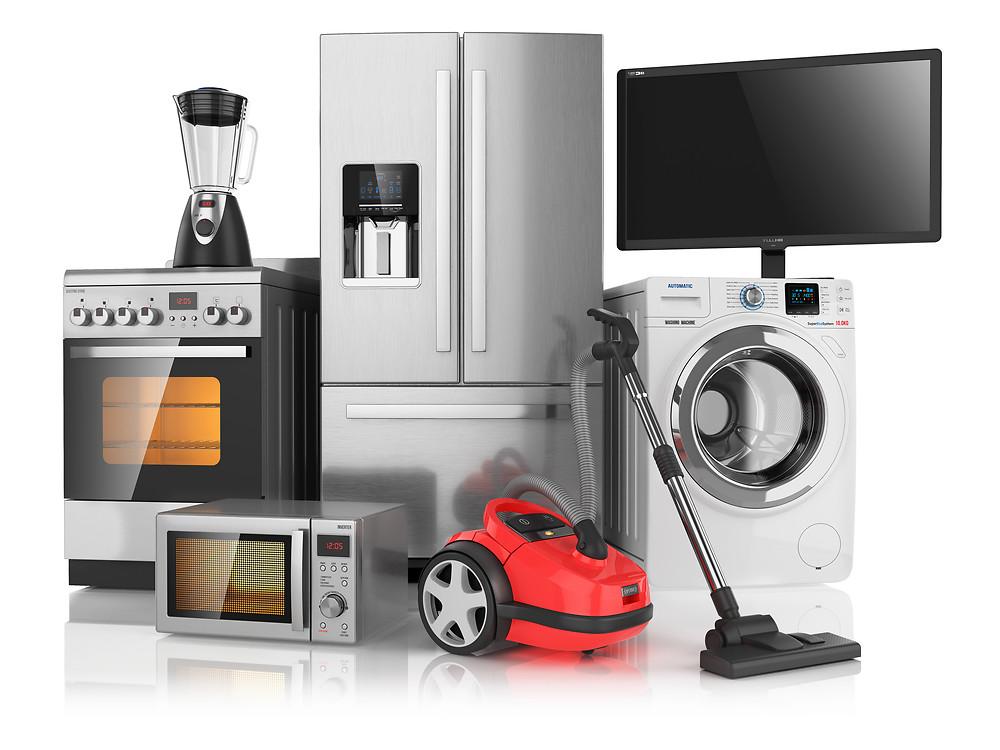 Set of household kitchen appliances